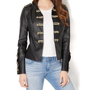 Military Faux Leather Jacket